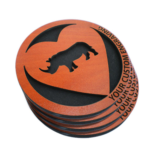 wooden coasters heart set