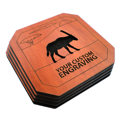 engraved coasters set gemsbok